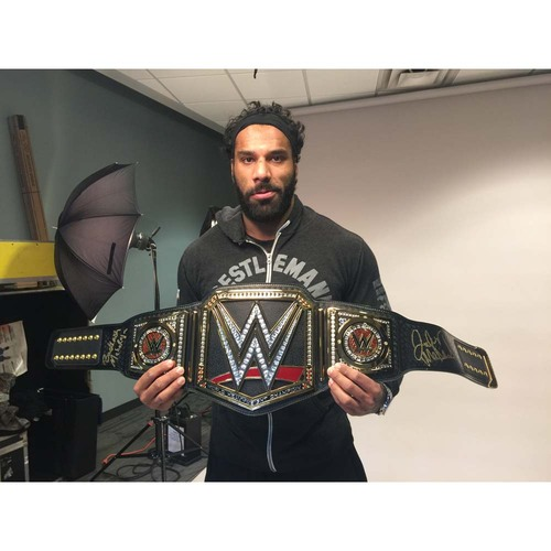 Photo of Jinder Mahal SIGNED WWE Championship Replica Title