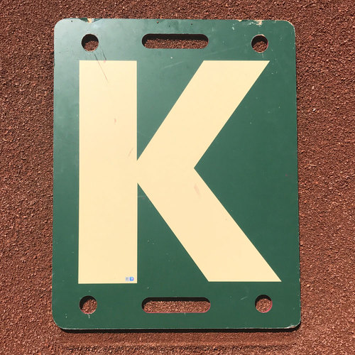 "Photo of San Francisco Giants - K Board - 2017 White ""K"" - Ty Blach strikes out Mark Reynolds"