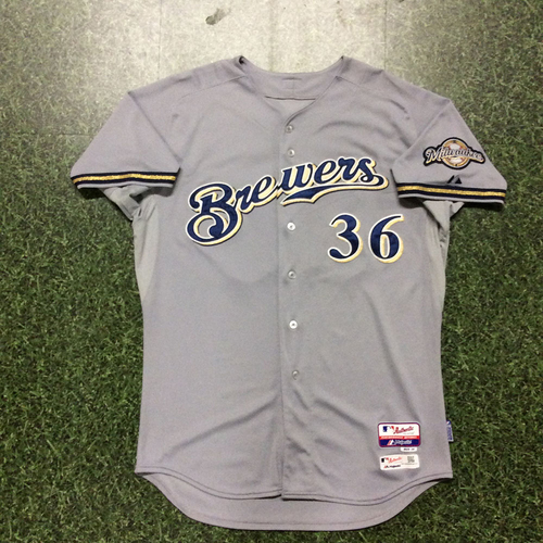 Photo of Jerry Narron 2015 Game-Used Road Grey Jersey