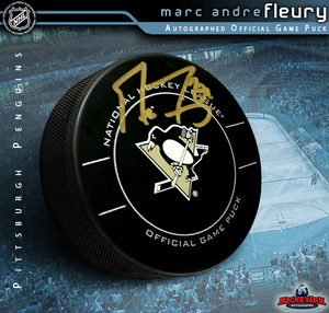 MARC ANDRE FLEURY Signed Official Game Puck in Case - Pittsburgh Penguins