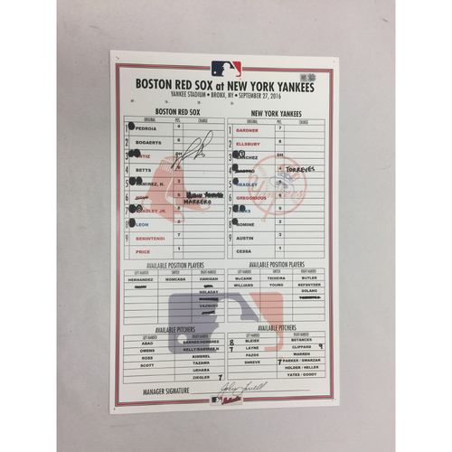 Photo of David Ortiz Autographed Red Sox at Yankees September 27, 2016 Game-Used Lineup Card