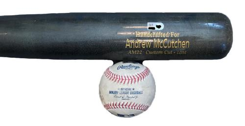 Photo of Andrew McCutchen Game-Used Baseball and Broken Bat from Pirates vs. Cubs on 4/24/17