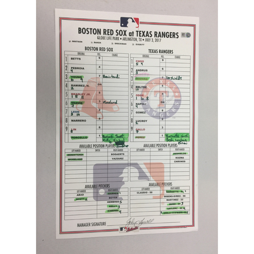 Photo of July 3, 2017 Red Sox at Rangers Game-Used Lineup Card - Red Sox Win 7 to 5 in 11 innings
