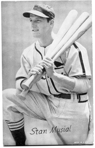 Photo of 1947-66 Exhibits #164A Stan Musial/three bats, kneeling