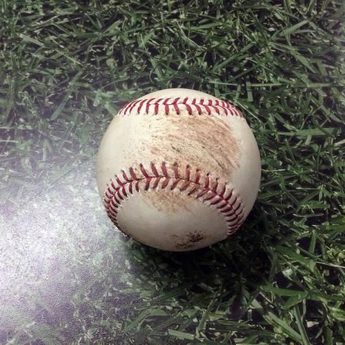 Photo of Game-Used Baseball 08/01/17 STL@MIL - Nelson to Gyorko: Strikeout #497 in Jimmy Nelson's 500th Strikeout Game