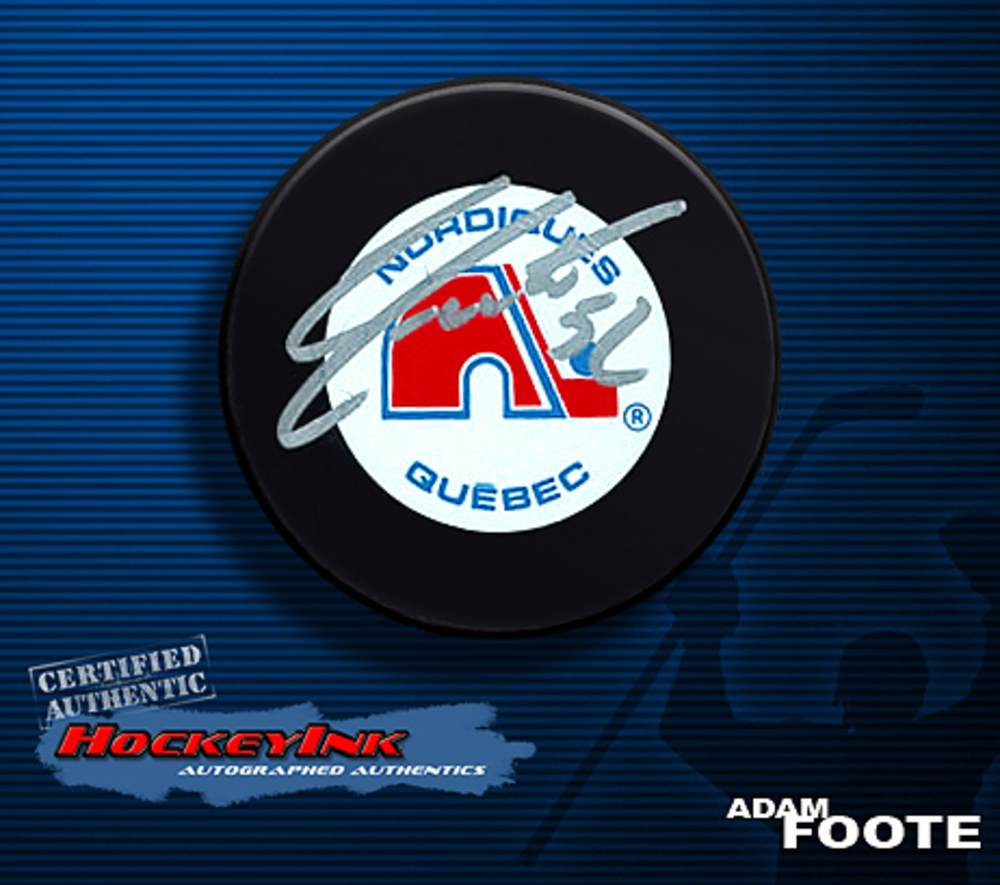 ADAM FOOTE Signed Retro Quebec Nordiques Puck