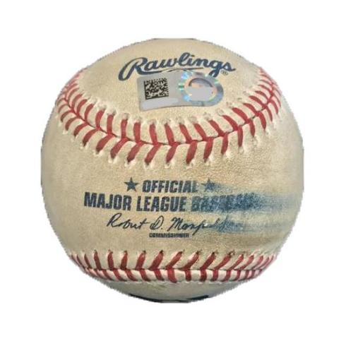 Photo of Game-Used Baseball from Pirates vs. Yankees on 4/23/17 - Watson to Holliday, Walk