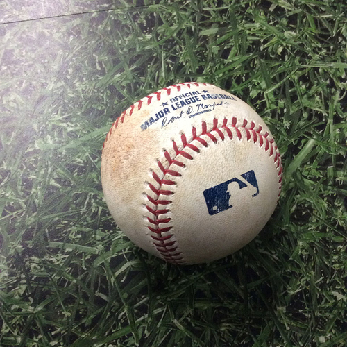 Photo of Game-Used Baseball 06/04/17 LAD@MIL - Zach Davies to Cody Bellinger: Ball 2