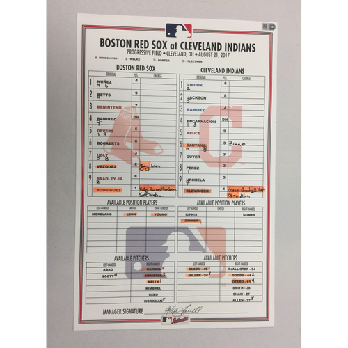 Photo of August 21, 2017 Red Sox at Indians Game-Used Lineup Card -Indians Win 5 to 4