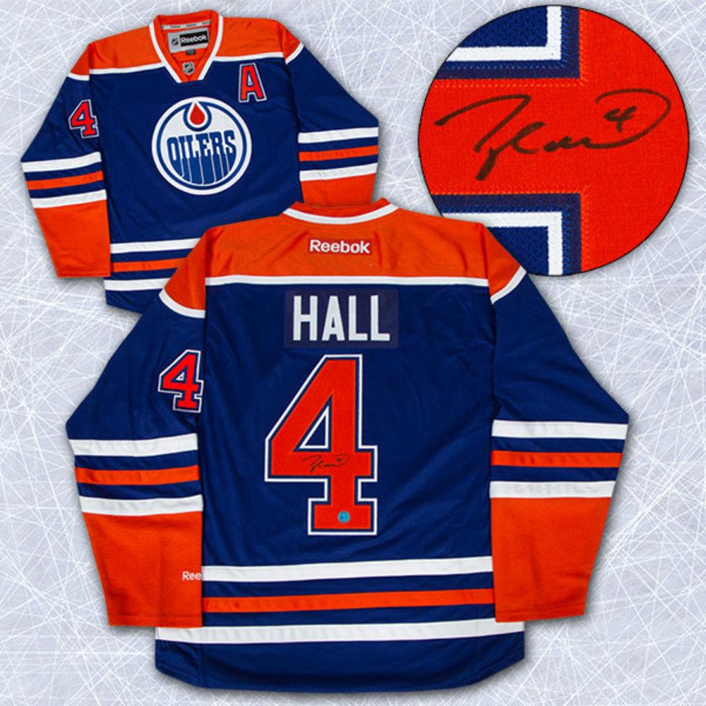 Taylor Hall Edmonton Oilers Autographed Blue Reebok Premier Hockey Jersey