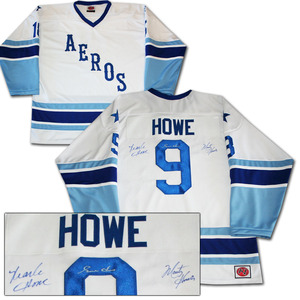 Gordie, Mark & Marty Howe Autographed Houston Aeros Jersey - The Hockey Royal Family
