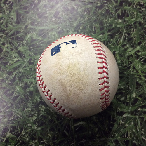 Photo of Game-Used Baseball 05/27/17 ARI@MIL - Tom Wilhelmsen to Eric Sogard: RBI Single