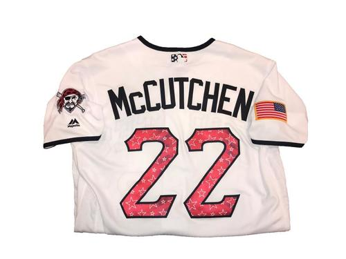 Photo of Andrew McCutchen Game-Used Home White Stars and Stripes Jersey