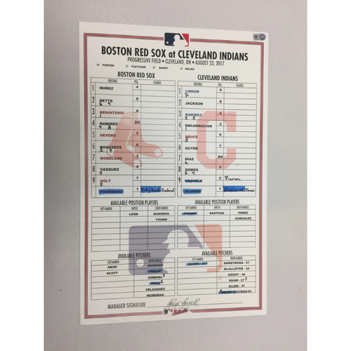 Photo of August 23, 2017 Red Sox at Indians Game-Used Lineup Card -Red Sox Win 6 to 1