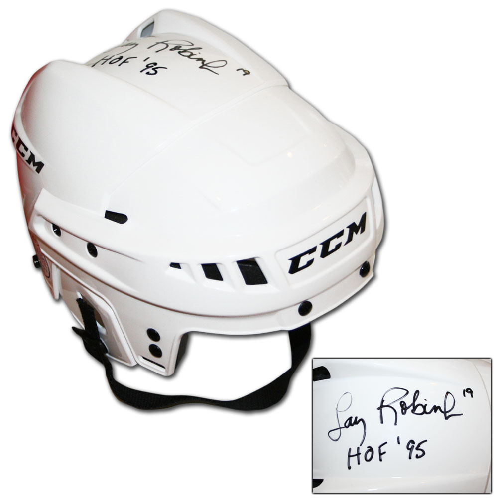 Larry Robinson Autographed CCM Hockey Helmet w/HOF 95 Inscription