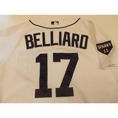 Photo of Game-Used Raphael Belliard Home Jersey: 2011 ALDS Game 3