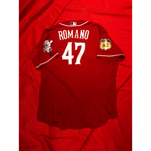 Photo of Sal Romano -- Team-Issued Jersey -- 2017 Spring Training