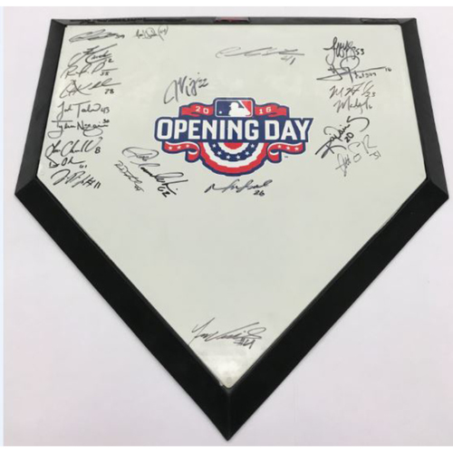 Photo of 2016 Opening Day Autographed Home Plate, Signed by 22 Players (Lindor) - Not Authenticated by MLB