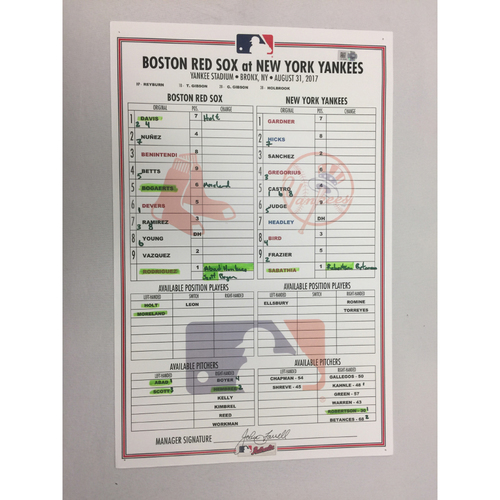 Photo of August 31, 2017 Red Sox at Yankees Game-Used Lineup Card -Yankees Win 6 to 2, Gary Sanchez hit 28th Home Run of the Season