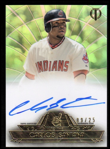 Photo of 2014 Topps Tribute Tribute to the Pastime Autographs Green #TPTCSA Carlos Santana