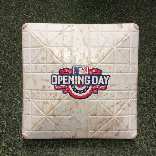 Photo of Game-Used 2016 Opening Day 3rd Base - SF@MIL - Gennett & Villar HRs