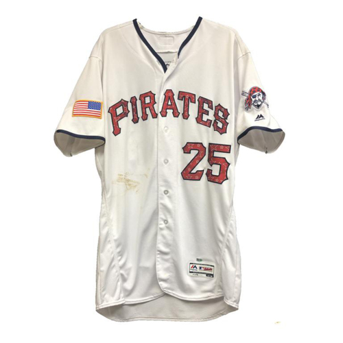 Photo of Gregory Polanco Game-Used Home White Stars and Stripes Jersey