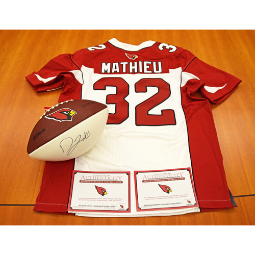Photo of David Johnson Autographed Arizona Cardinals Football and Tyrann Mathieu Autographed Arizona Cardinals Jersey - Not Authenticated by MLB