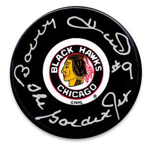 Bobby Hull Chicago Blackhawks Golden Jet Autographed Puck