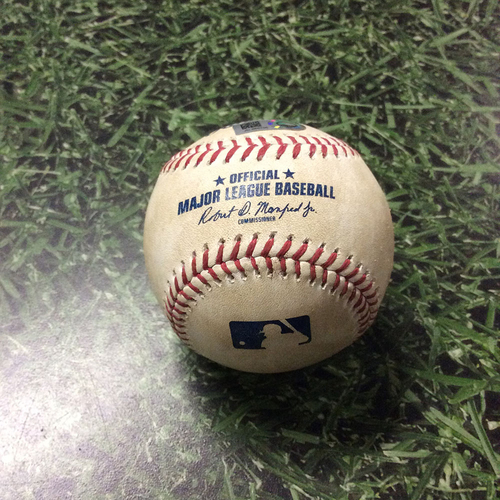 Photo of Game-Used Baseball 07/02/17 MIA@MIL - Rob Scahill to Ichiro Suzuki: Fielder's Choice