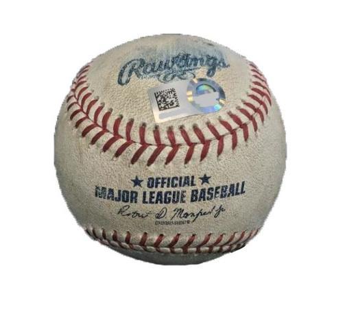 Photo of Game-Used Baseball from Pirates vs. Diamondbacks on 5/30/17 - Nova to Tomas, Drury - Tomas Ground Out, Drury Foul