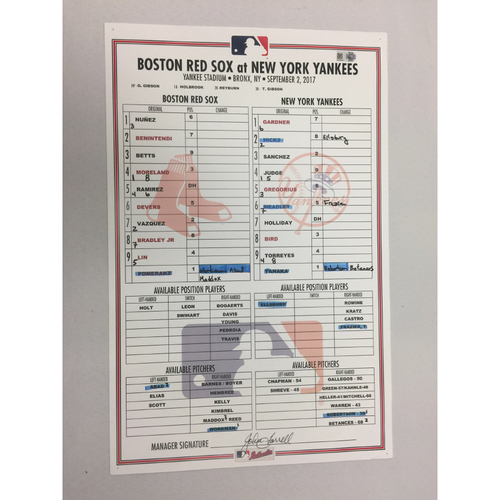 Photo of September 2, 2017 Red Sox at Yankees Game-Used Lineup Card -Yankees Win 5 to 1