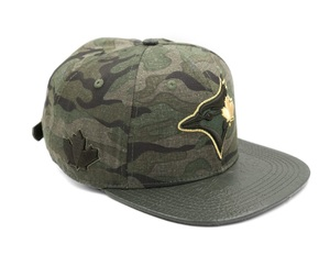 Wool with Embossed Leather Gator Visor & Pins Cap Camo/Gold by New Era