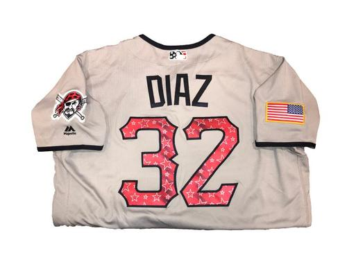 Photo of Elias Diaz Game-Used Road Gray Stars and Stripes Jersey