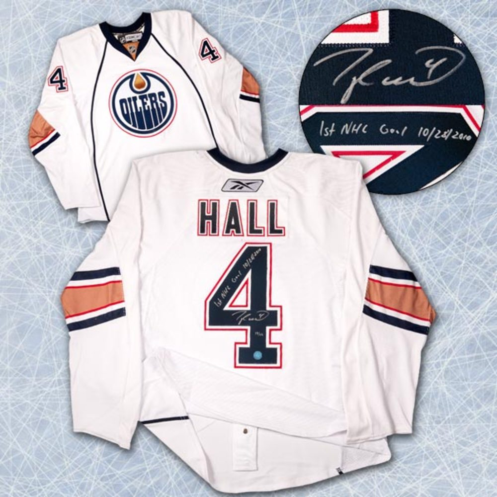 Taylor Hall Edmonton Oilers Signed & Dated 1st Goal Authentic On Ice Jersey #/44