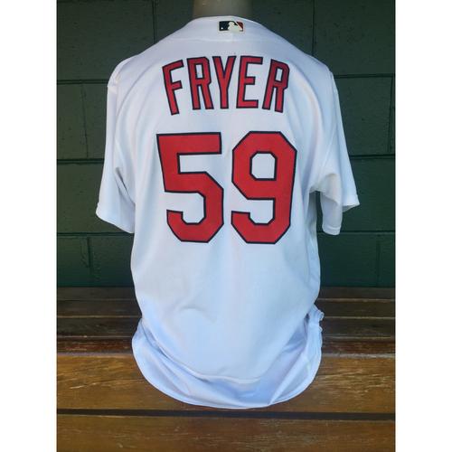 Cardinals Authentics: Eric Fryer Home White Cardinals Jersey