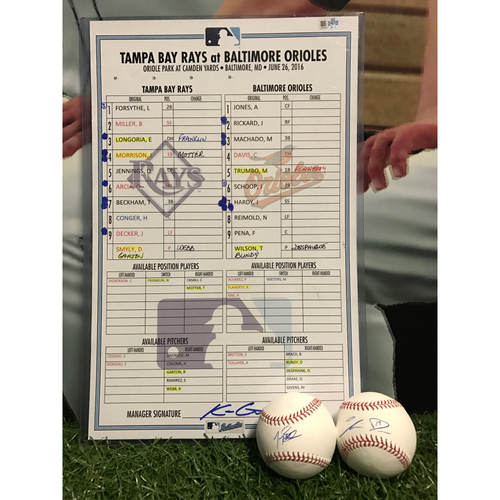 Photo of Line-Up Card and Autographed Baseballs: Tampa Bay Rays at Baltimore Orioles
