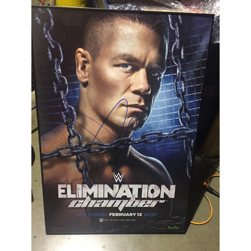 Photo of John Cena SIGNED WWE Elimination Chamber 2017 Event Poster