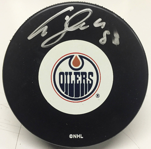 ALES HEMSKY Signed Edmonton Oilers Puck *Signature is Smudged