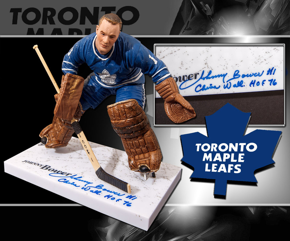 Johnny Bower Toronto Maple Leafs HOF China Wall Autographed McFarlane Figurine