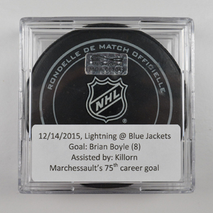Brian Boyle - Tampa Bay Lightning - Goal Puck - December 14, 2015 (Blue Jackets Logo)