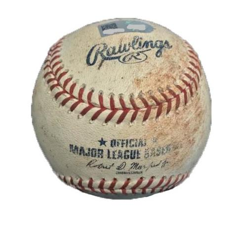 Photo of Game-Used Baseball from Pirates vs. Rockies on 6/14/17 - Marinez to Tapia, Story - Tapia Single, Story Single