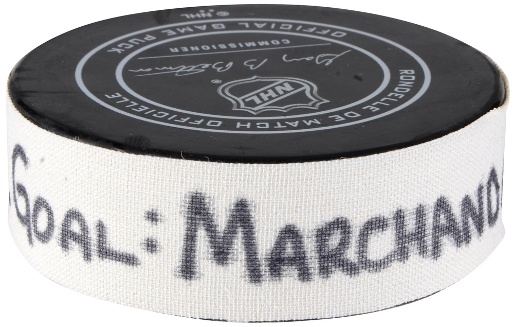 Brad Marchand Boston Bruins Atlantic Division 2018 NHL All-Star Game Goal Puck vs. Metropolitan Division