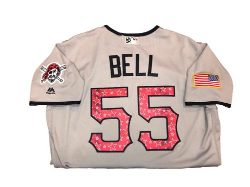 Photo of Josh Bell Game-Used Road Gray Stars and Stripes Jersey