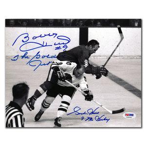 Gordie Howe Detroit Red Wings vs. Bobby Hull Chicago Blackhawks Dual Autographed 8x10