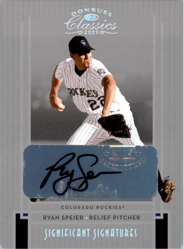Photo of 2005 Donruss Classics Significant Signatures Silver #219 Ryan Speier/100