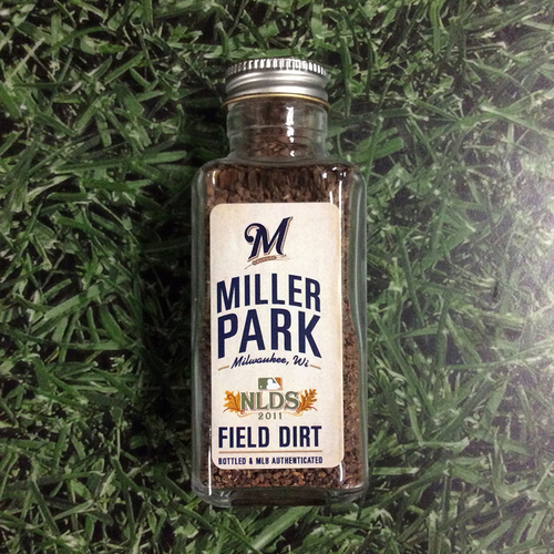 Photo of Milwaukee Brewers - Miller Park Game-Used Dirt Jar - Game 1 of 2011 NLDS (October 1, 2011)