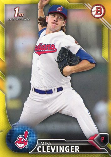 Photo of 2016 Bowman Prospects Yellow #BP52 Mike Clevinger -- Indians post-season