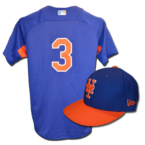 Curtis Granderson #3 - Team Issued Blue Batting Practice Top and Hat Combination - 2017 Season