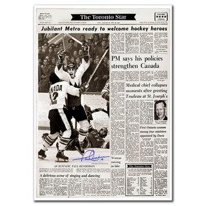 Paul Henderson Team Canada 1972 Summit Series The Goal Toronto Star Autographed 24x36