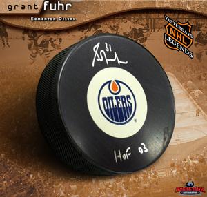 GRANT FUHR Signed Edmonton Oilers Vintage Puck